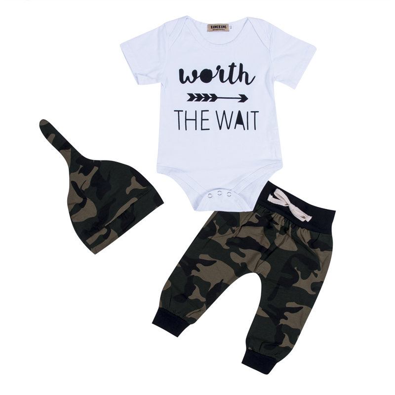 Toddler Baby Boy Clothes Set Infant Newborn Kid Outfit THE WAIT Cotton Bodysuit Camo Pants Hat Children Clothing Set
