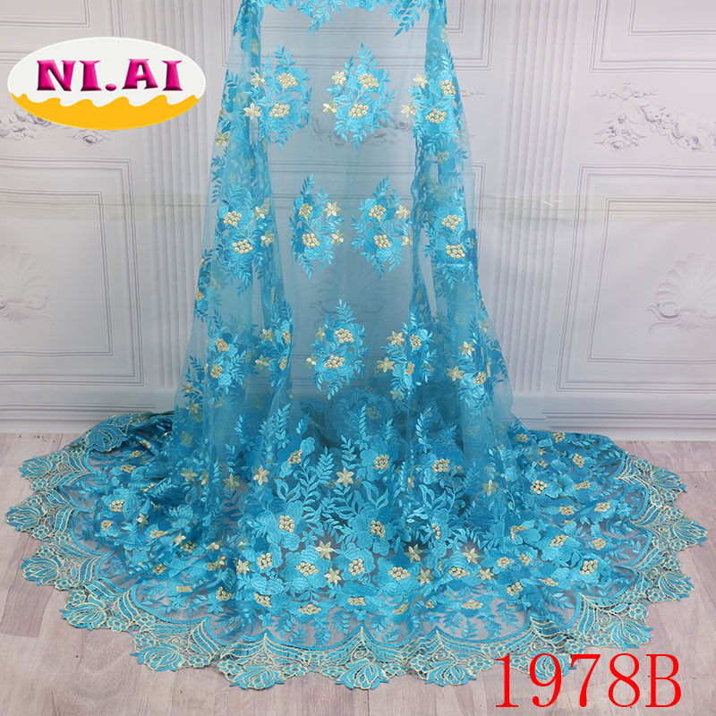 African Lace Fabric 2018 High Quality French Laces Fabrics Tulle French Elastic Lace Trim Fabrics For African Parties NA1978B 1-in Lace from Home & Garden    3