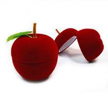 Christmas Gift Apple Shape Jewelry Storage Box Container For Rings  Earrings(China)