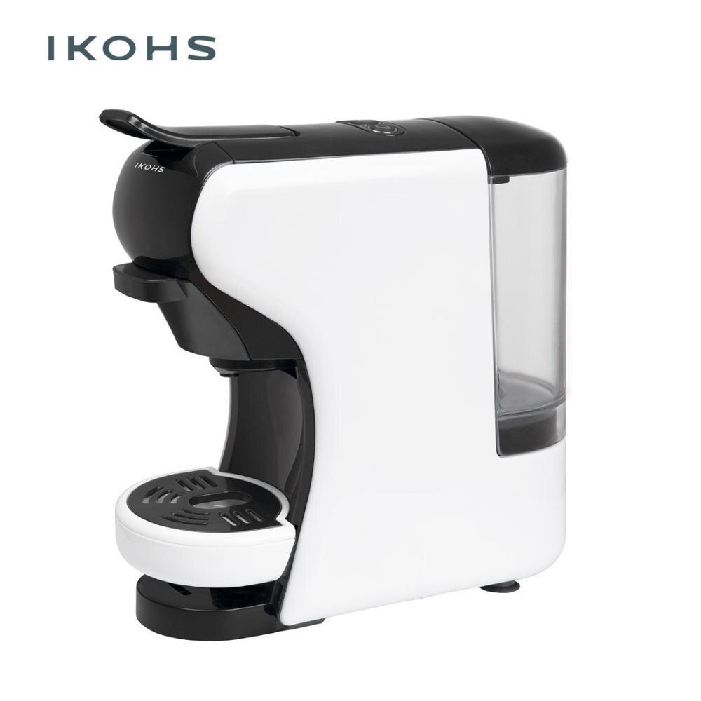 IKOHS POTTS cafetière automatique Express 4 couleurs Capsules de Dolce Gusto Nespresso et pour café moulu 0.7L 1450W