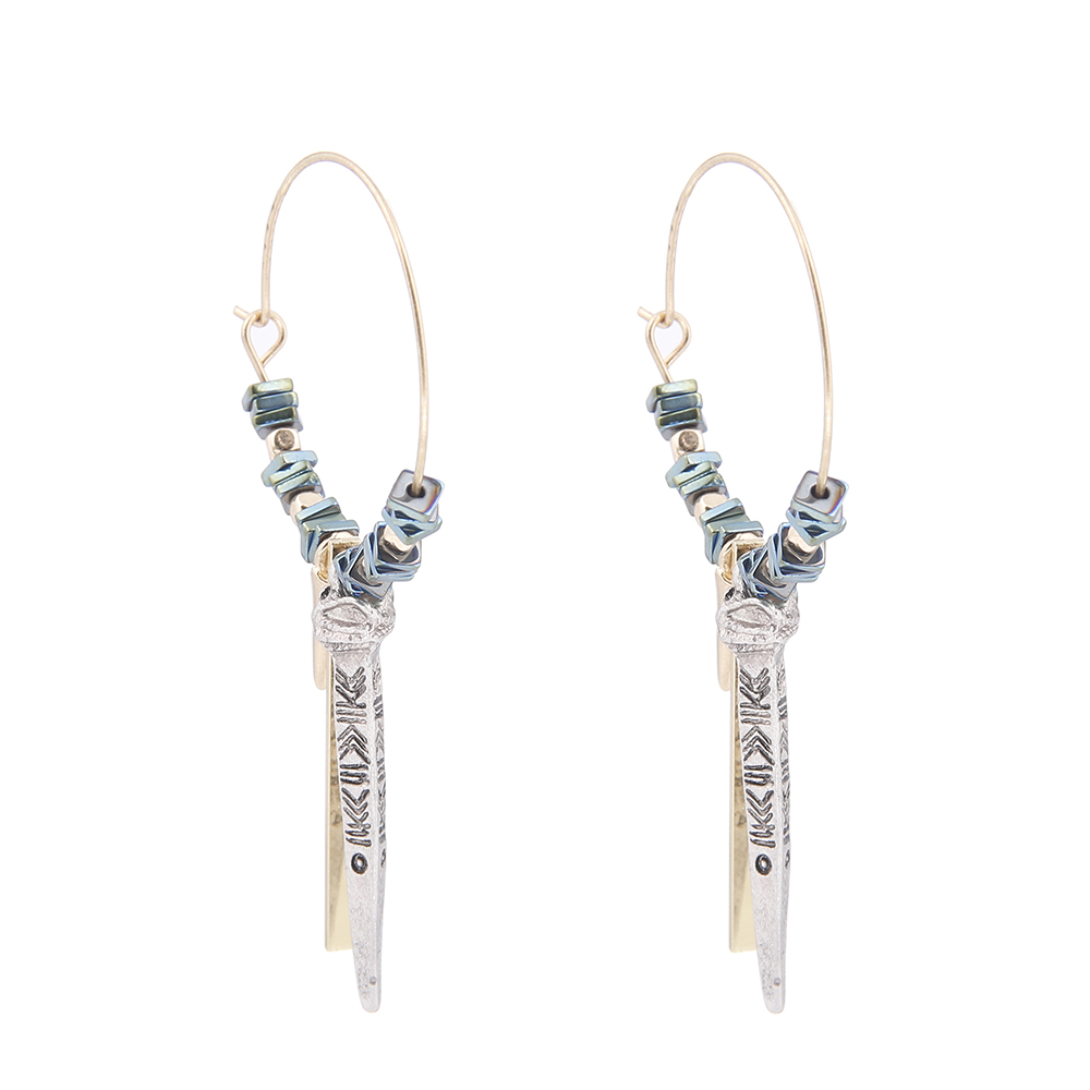 Lureme Vintage Unique Jewelry Circle with Natural Green Granules Bar Pendant Dangle Earrings for Women Earing (er005457)