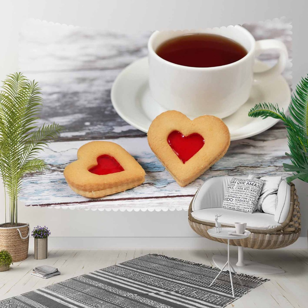 Else Gray Wooden Cup Of Tea Hearts Cakes 3D Print Decorative Hippi Bohemian Wall Hanging Landscape Tapestry Wall Art