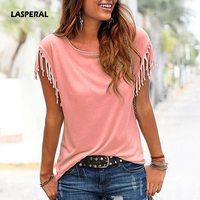 LASPERAL Plus Size Summer Plus Size Tassel T Shirt Women T Shirts Short Sleeve Tops Tees