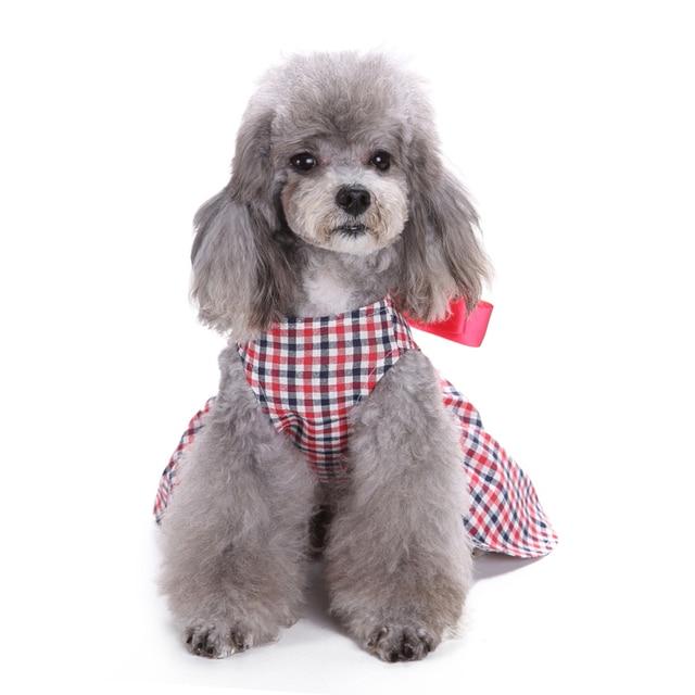 TINGHAO Cute Sweet Plaid Lace Ribbon Bowknot Sleeveless Dog Dress Pet Clothes Apparel