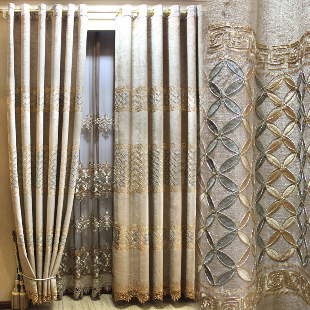 High grade thick coffee color chenille gold silk hollow embroidery curtain finished custom living room bedroom balcony tulle