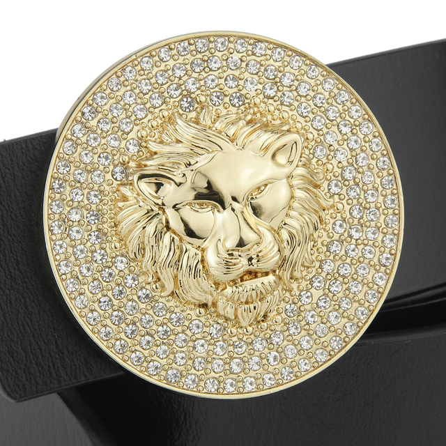 Ceintures de styliste en cuir véritable pour hommes, ceinture de luxe, avec boucle de Lion, classique, noire, de haute qualité, décontracté