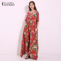 ZANZEA Fashion Womens 2017 Boho Floral Print Retro Casual Kaftan Ladies Short Sleeve Pockets Maxi Long