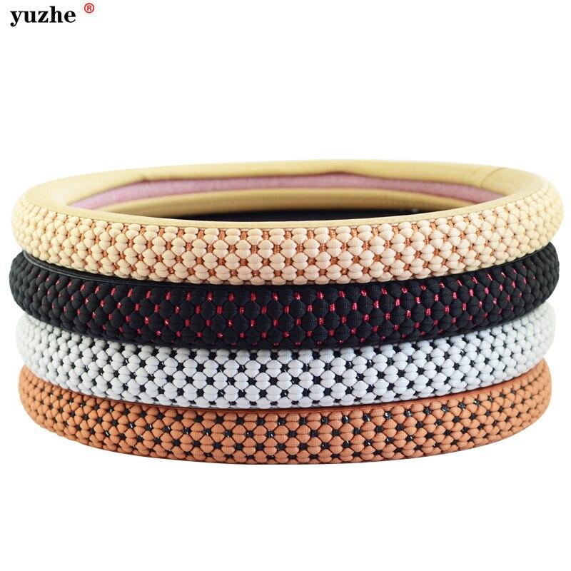 Yuzhe couverture De Volant de Voiture Hubs Anti-slip en cuir Noir gel de silice Tresse Avec Aiguilles Fil pour Volkswagen VW toyota kia