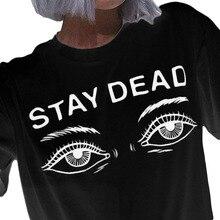 c7493dbe66 2017 nueva moda Harajuku camiseta mujer verano algodón camiseta muerta Ojos  casual o-cuello de