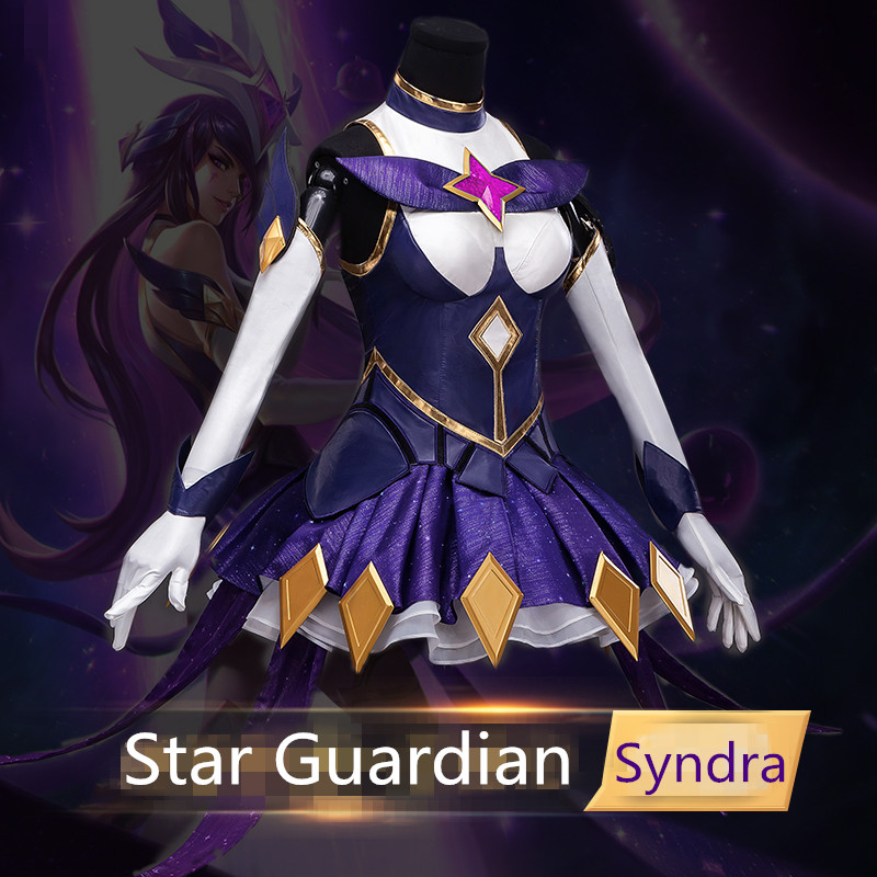 LOL Cosplay Costume Star Guardian Dark Heads Syndra Female Cosplay Outfit Dresses Halloween Costume Women Dress