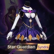 LOL kosplay kostiumas Star Guardian Dark Heads Syndra Moteriškas kosplay aprangos suknelės Halloween kostiumo moterų suknelė