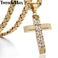 Trendsmax 55 cm CZ Rightstones Gold Kreuz Halskette für Männer Edelstahl Byzantinischen Kette herren Anhänger Schmuck KPM86