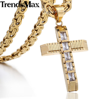 Mens Chain Boys Carved Gold Silver Tone Cross Stainless Steel Pendant W Clear Rhinetones Necklace Jewelry