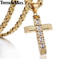 Trendsmax 55 cm Rightstones CZ Collar de Cruz de Oro para Los Hombres de Acero Inoxidable Cadena Bizantina de Los Hombres Colgante de Joyería KPM86