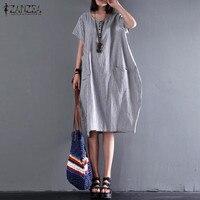 ZANZEA Womens Fashion Short Sleeve Cotton Linen Shirt Dresses 2018 Summer Crew Neck Basic Loose Button