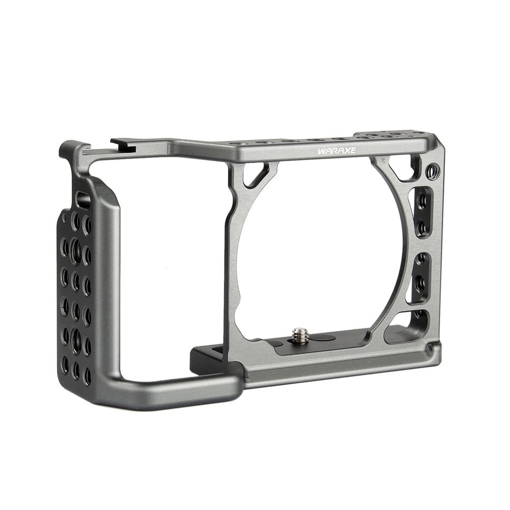 WARAXE A6 Camera Cage for Sony ILCE-6000/ILCE-6300/ILCE-A6500 with 1/4 and 3/8 Threaded Holes Cold Shoe Base waraxe a6 camera cage for sony ilce 6000 ilce 6300 ilce a6500 with 1 4 and 3 8 threaded holes cold shoe base free shipping
