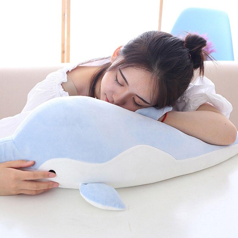 50/70 cm delfín almohada Delfín de peluche muñeca de dibujos animados de felpa juguetes de peluche suave almohada de la siesta cojín para regalo de cumpleaños de los niños