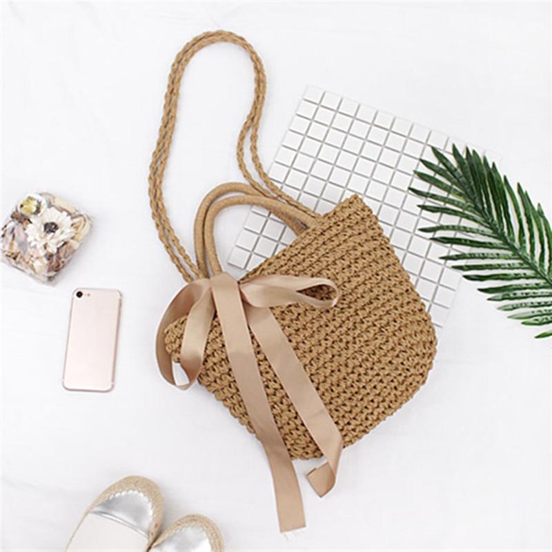 Osmond Ribbon Bowknot Straw Tote 2017 Bohemian Summer Beach Handbag - Պայուսակներ - Լուսանկար 3
