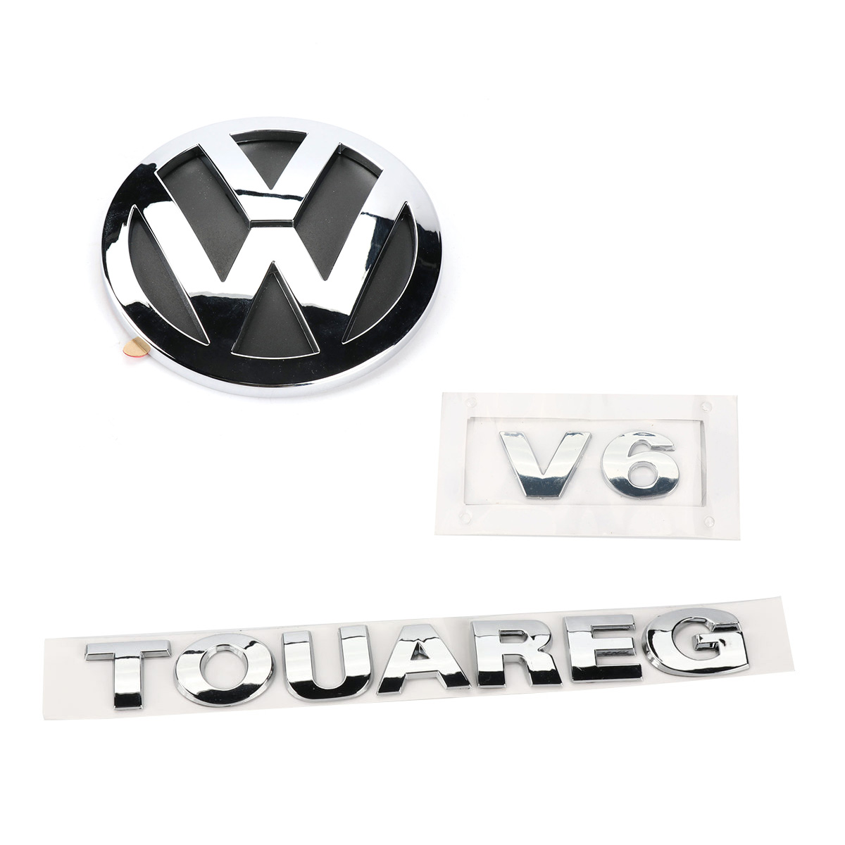 Nueva insignia trasera Boot Chrome emblema V6 TOUAREG 3 piezas para VW Sharan 2011-2016 Touareg 2011-2014 7P6 853 630 un