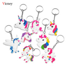 Vicney Unicorn keychain For Women Cute Unicorn Fluffy Key Chain Keyring Purse Bag Pendant Decor Accessory Gift Unicorn Keyholder(China)
