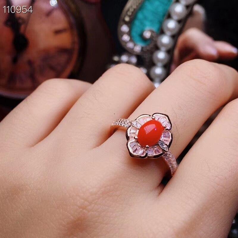KJJEAXCMY boutique bijoux 925 en argent sterling incrusté naturel rouge corail dame collier pendentif avec deux ensembles de soutien d - 5