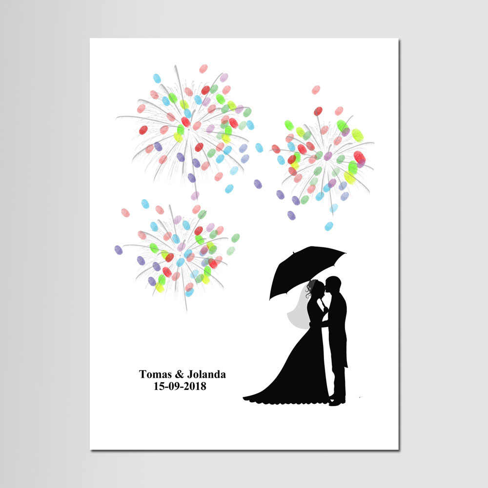 Personalized DIY Fingerprint Wedding Guest Book, Firework Canvas Painting, Wedding Gift Wedding Decoration For Wedding Party