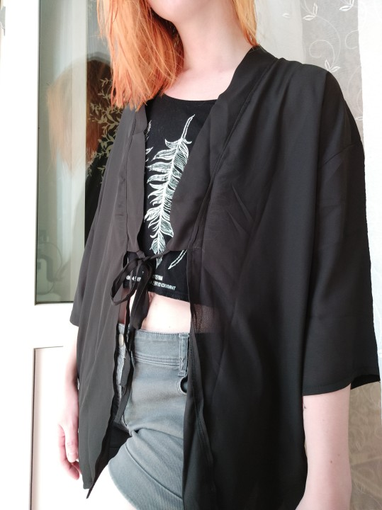 Lychee Harajuku Ghost Mask Embroidery Blouse Cardigan Kimono Causal Long Blouse Shirt Lace Up Loose Sunscreen Blouse Female photo review
