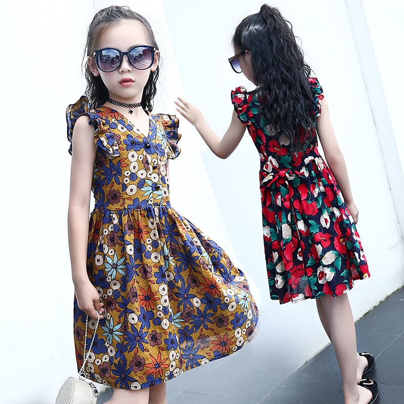 2017 Summer girl wearing clothes lady V-neck print dress 13 year old girl wearing Slim pure cotton Floral child dress 3 -14Y 7 the little old lady in saint tropez