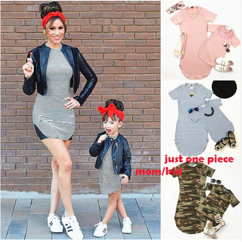 Daughter Dresse Short Matching-Clothes Mom Long-Sleeve Family-Look Fashion Mini And Striped title=