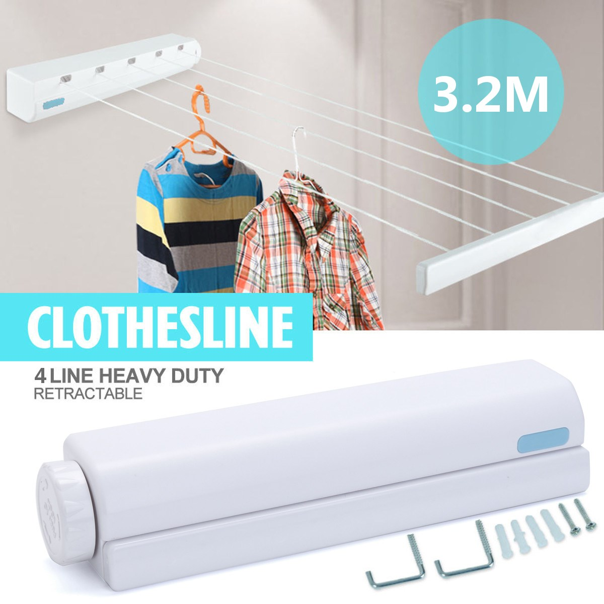 3.2m ABS Clothesline 4 Lines Rope Auto Roll Up Washing Indoor Space Saving Retractable  Clothesline Indoor Outdoor Clothes Dryer In Clotheslines From Home ...