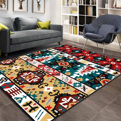 Else Aztec Ethnic Brown Green Red Retro 3d Pattern Print Non Slip Microfiber Living Room Decorative Modern Washable Area Rug Mat