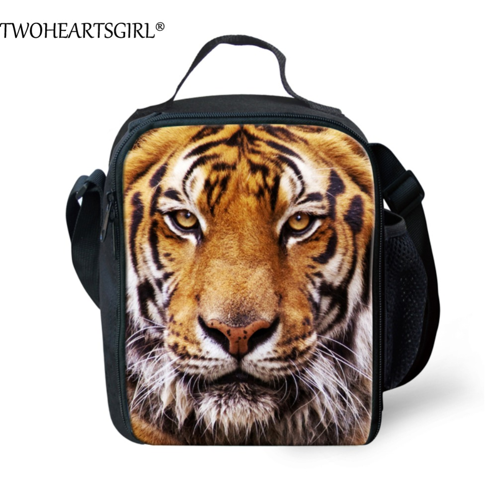 TWOHEARTSGIRL Tiger Printing Thermal Insulated Lunch Bag Office Men Adults Picnic Bag Kids Keep Warm Food Bag Lunch Box Tote Bag