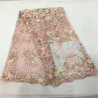 High Quality Tulle Lace 2018 Latest African Lace Fabric 3d Flower Applique Afican French Wedding Lace Fabric For 5yards F974 1