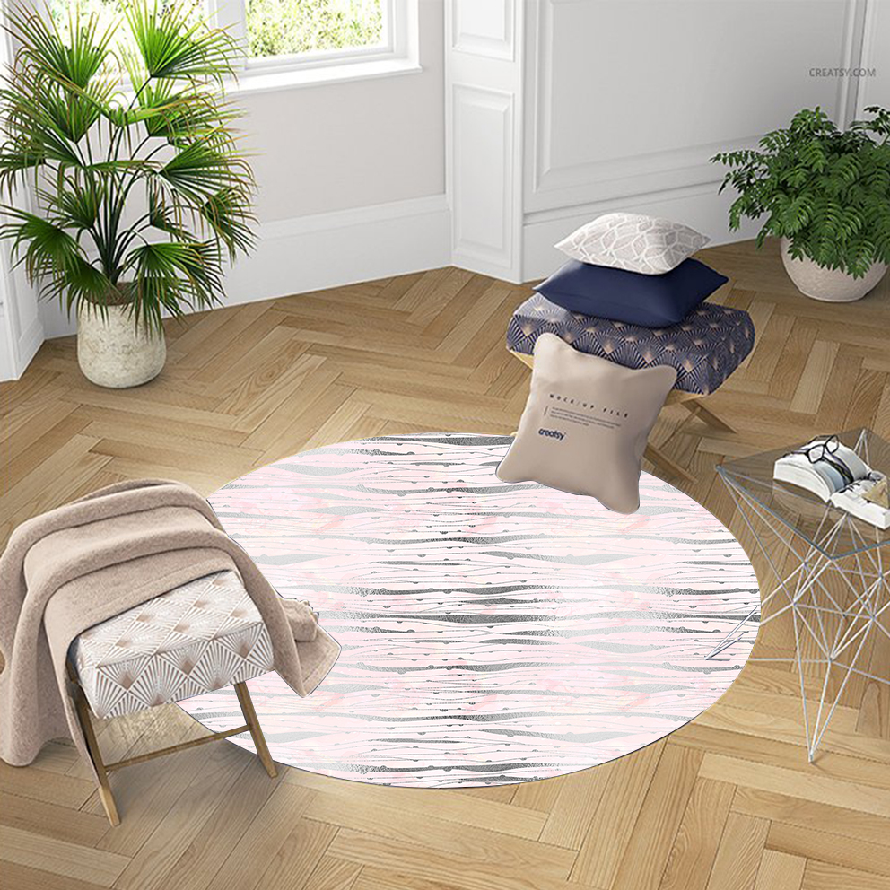 Else Geometric Pink Gray Stripes Nordec Lines 3d Pattern Print Anti Slip Back Round Carpets Area Rug For Living Rooms Bathroom