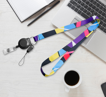 No MOQ High quality printing Custom lanyard for Retractable ID Badge Reels neck strap lanyard for
