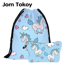 Jom Tokoy  New fashion 2 PCS Printing Women backpack unicorns School backpacks bag Set Combination ASH1002