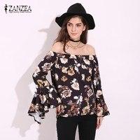 ZANZEA 2017 Boho Womens Floral Off Shoulder Irregular Peplum Frill Sexy Long Sleeve Loose Blouses Tops