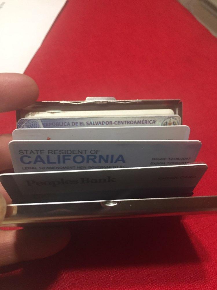 Kaarthouder mannelijk roestvrij staal metalen behuizing vak mannen vrouwen zakelijke creditcardhouder geval dekking munt portemonnee zwart zilver photo review