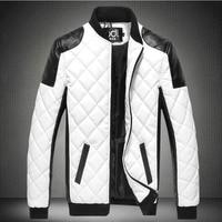 Mens PU leather Jacket Casual Slim fits caot Jackets Patchwork Pilot Jacket parka mens winter jackets plus size 5xl warm coat