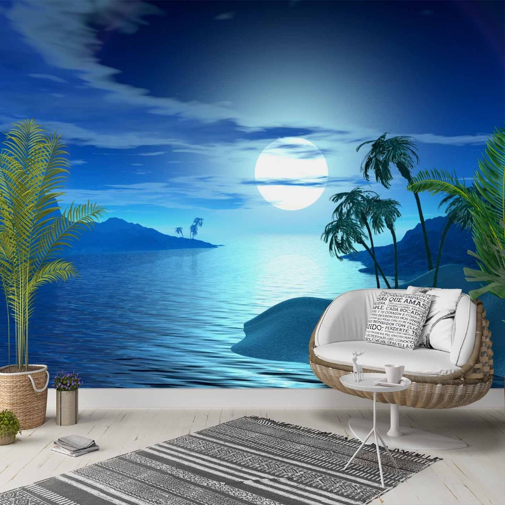 Else Blue Night Sky Moon Green Palm Trees 3d Photo Cleanable Fabric Mural Home Decor Living Room Bedroom Background Wallpaper