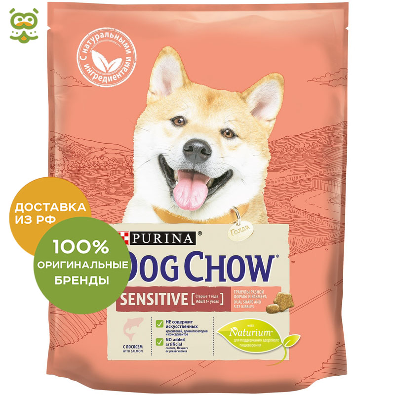 Dog food Dog Chow Adult Sensitive for adult dogs of all breeds with sensitive digestion, Salmon, 2 * 800 g. dog food dog chow adult sensitive for adult dogs of all breeds with sensitive digestion salmon 2 5 kg