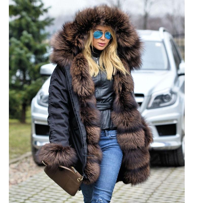 2018 Nouveau Femmes Long ArmyGreen Camouflage D'hiver Veste Outwear Épais Parkas Naturel Réel Fox Col De Fourrure À Capuchon Manteau Pelliccia