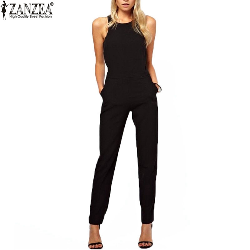 ZANZEA 2017 Summer Rompers Womens Jumpsuit Sexy Casual Sleeveless Long Playsuits Plus Size Overalls Solid Trousers Plus Size