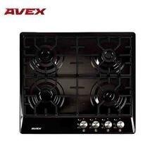 Встраиваемая варочная панель AVEX NS 6042 B, чугунные решетки, электро-поджиг, поверхность эмалированный черный металл