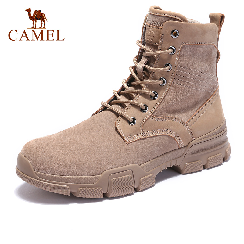 CAMEL Men Boots Outdoor Tooling Soft Cushioning CowSuede Leather Quality Martin Tactical Ankle Boats Army Men Botas Industriales