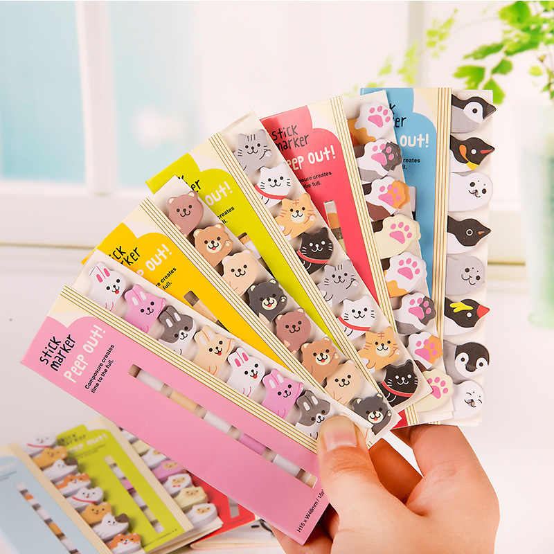 1pc New Mini Lovely Cartoon Animals Panda Cat Memo Pad Sticky Notes Memo Notebook Stationery School Supplies Note Paper Stickers
