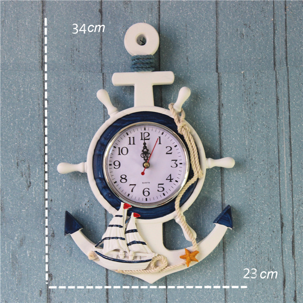 OULII Anchor Clock Beach Sea Theme Nautical Ship Wheel Rudder Steering Wheel Decor Wall Hanging Decoration in Wall Clocks from Home Garden
