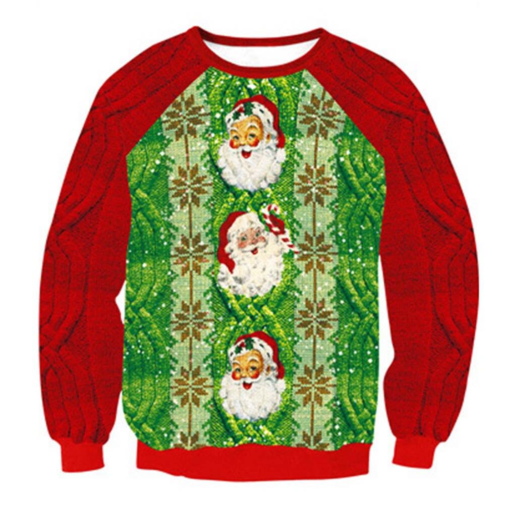 Christmas Men Women Santa Claus Reindeer Patterned Sweatershirt New Middle Long Pullovers Print Sweatershirts