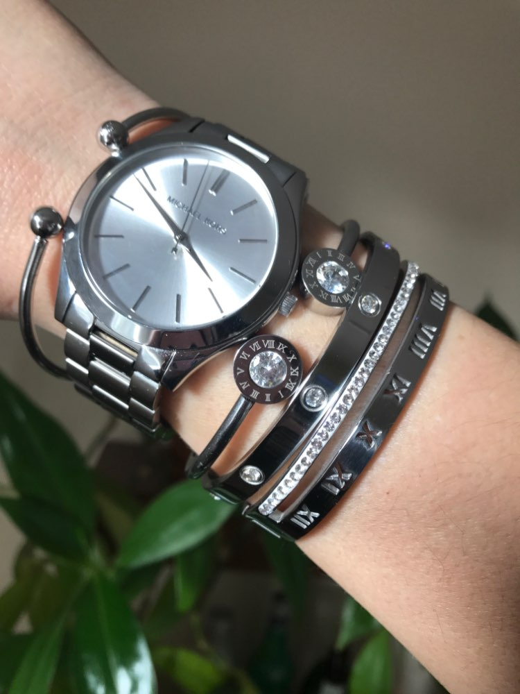 stainless steel bracelets bangles women cuff crystal roman numerals