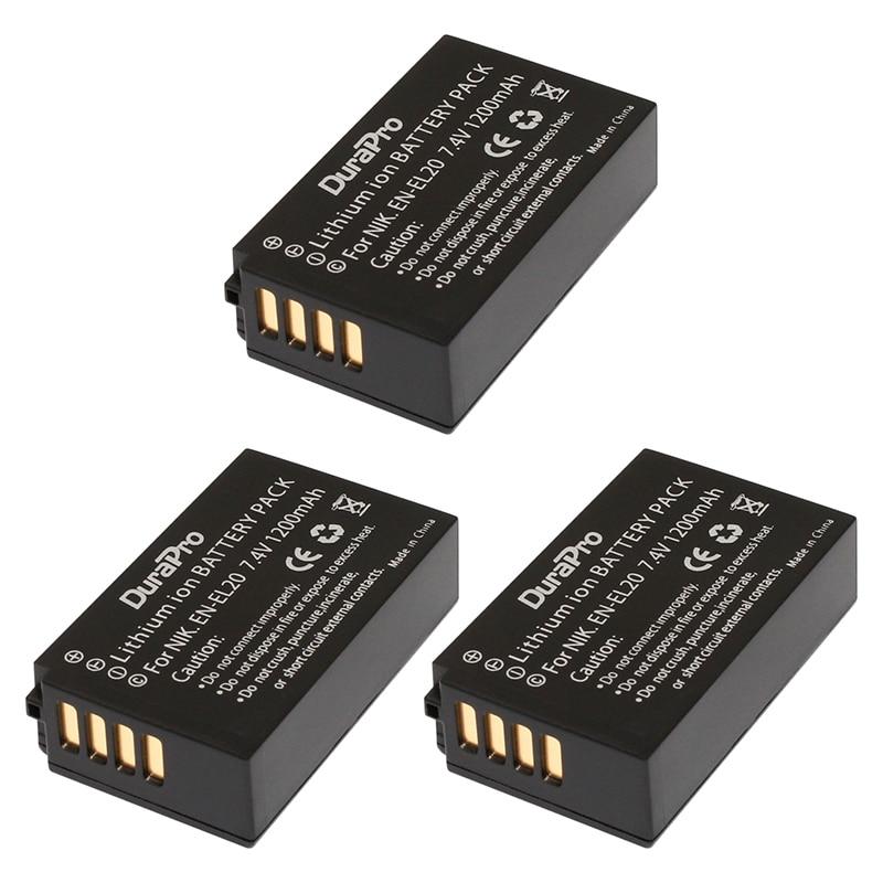 DuraPro 3 Шт. EN-EL20 ENEL20 АН EL20 Литий-Ионный/Литий-ионный Аккумулятор для Nikon Coolpix 1 J1 J2 J3 S1 AW1 MH-27 Bateria